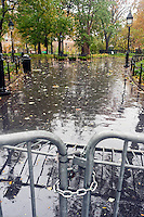 New York, NY -  29 Oct 2012 Washington Square Park closed due to Hurricane Sandy