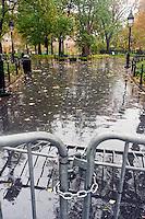 New York, NY -  29 Oct 2012 Washington Square Park closed due to Hurricane Sandy