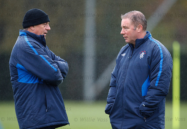 Walter Smith and Ally McCoist together in the rain