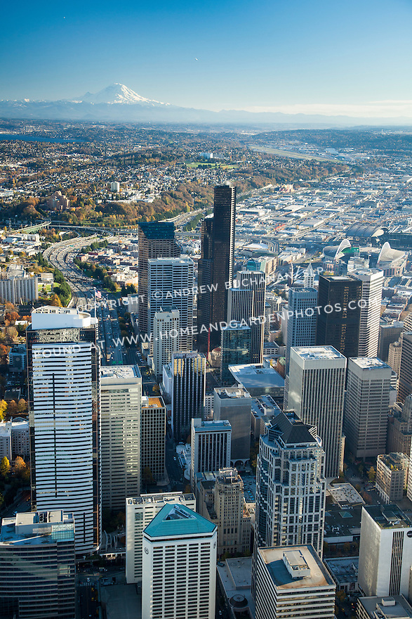 Aerial view of Seattle skyline with Mount Rainier in the background