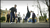 A group of Asian boys play cricket on the streets near Albert Drive, Glasgow ...... 13.4.00 ..... Picture by Donald MacLeod