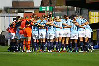 Manchester City team huddle ahead of Chelsea Women vs Manchester City Women, FA Women's Super League FA WSL1 Football at Kingsmeadow on 9th September 2018