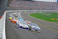 Mark Martin, (#55) Aaron's Dream Machine Camry and Kasey Kahne (#5) lead the field.