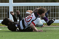 Harpenden go over for a try during Harpenden RFC vs Romford & Gidea Park RFC, London 2 Promotion Play-Off Rugby Union at Redbourn Lane on 13th April 2019