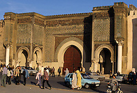 Meknes, Morocco.  Bab Mansour, built 1672-1732.  Entrance to the kasbah, the imperial quarter.