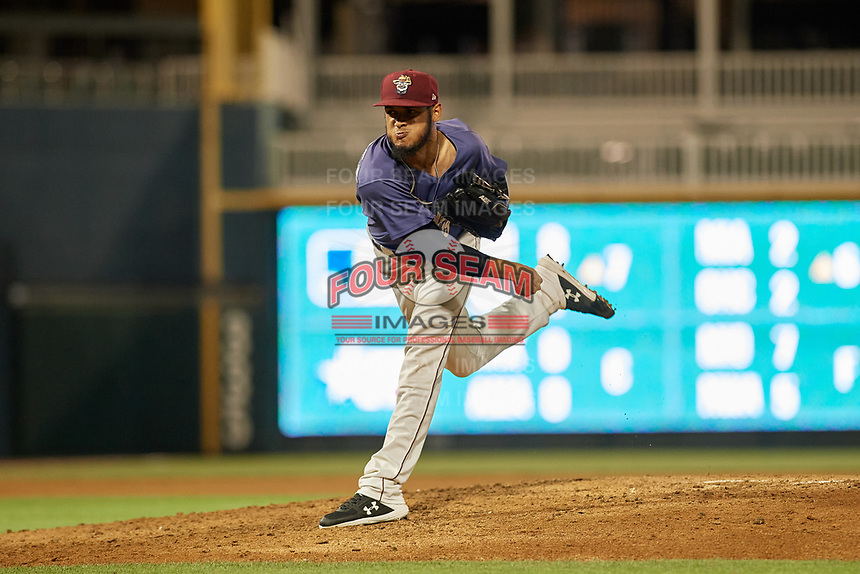 Frisco RoughRiders pitcher Jonathan Hernandez (19) during a Texas League game against the Springfield Cardinals on May 7, 2019 at Dr Pepper Ballpark in Frisco, Texas.  (Mike Augustin/Four Seam Images)