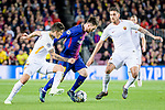 Lionel Andres Messi of FC Barcelona (C) fights for the ball with Diego Perotti of AS Roma (L) and Lorenzo Pellegrini of AS Roma (R) during the UEFA Champions League 2017-18 quarter-finals (1st leg) match between FC Barcelona and AS Roma at Camp Nou on 05 April 2018 in Barcelona, Spain. Photo by Vicens Gimenez / Power Sport Images