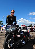 Aug. 21, 2011; Brainerd, MN, USA: NHRA pro stock motorcycle rider Matt Smith during the Lucas Oil Nationals at Brainerd International Raceway. Mandatory Credit: Mark J. Rebilas-