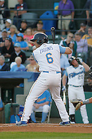Myrtle Beach Pelicans infielder Mark Zagunis (6) at bat during a game against the Wilmington Blue Rocks at Ticketreturn.com Field at Pelicans Ballpark on April 09, 2015 in Myrtle Beach, South Carolina. Myrtle Beach defeated Wilmington 9-1. (Robert Gurganus/Four Seam Images)