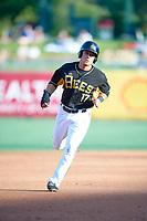 Matt Thaiss (17) of the Salt Lake Bees hustles towards third base against the New Orleans Baby Cakes at Smith's Ballpark on June 8, 2018 in Salt Lake City, Utah. Salt Lake defeated New Orleans 4-0.  (Stephen Smith/Four Seam Images)