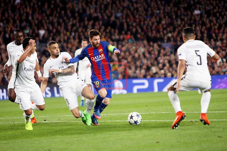 UEFA Champions League 2016/2017.<br /> Round of 16 2nd leg<br /> FC Barcelona vs Paris Saint-Germain: 6-1.<br /> Thiago Silva, Layvin Kurzawa, Lionel Messi &amp; Marquinhos.