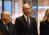 Dennis A. Muilenburg, president and chief executive officer of The Boeing Company, arrives to Trump Tower on January 17, 2017 in New York City. U.S. President Elect Donald Trump is still holding meetings upstairs at Trump Tower just 3 days before the inauguration.    <br /> Credit: Bryan R. Smith / Pool via CNP