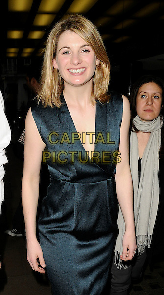 "JODIE WHITTAKER .At the ""Good"" Screening and Q & A session, Curzon Mayfair cinema, London, England, UK, March 30th 2009..half 3/4 length dark  green dress silk satin  Q&A and low cut .CAP/CAN.©Can Nguyen/Capital Pictures"