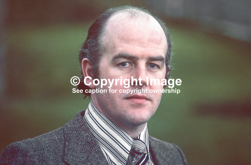 Frank McManus, Republican, politician, prominent, Enniskillen, brother of Rev Sean McManus, Roman Catholic priest, Washington, DC, USA, activist, Irish National Caucus, 197803000092.<br /> <br /> Copyright Image from Victor Patterson,<br /> 54 Dorchester Park, <br /> Belfast, UK, BT9 6RJ<br /> <br /> t1: +44 28 9066 1296 (from Rep of Ireland 048 9066 1296)<br /> t2: +44 28 9002 2446 (from Rep of Ireland 048 9002 2446)<br /> <br /> m: +44 7802 353836<br /> <br /> e: victorpatterson@me.com<br /> www.victorpatterson.com<br /> <br /> Please see my Terms and Conditions of Use at www.victorpatterson.com. It is IMPORTANT that you familiarise yourself with them.<br /> <br /> Images used on the Internet must be visibly watermarked i.e. &copy; Victor Patterson<br /> within the body of the image and copyright metadata must not be deleted. Images <br /> used on the Internet have a size restriction of 4kbs and will be chargeable at current<br />  NUJ rates unless agreed otherwise.<br /> <br /> This image is only available for the use of the download recipient i.e. television station, newspaper, magazine, book publisher, etc, and must not be passed on to any third <br /> party. It is also downloaded on condition that each and every usage is notified within 7 days to victorpatterson@me.com<br /> <br /> The right of Victor Patterson to be identified as the author is asserted in accordance with The Copyright Designs And Patents Act (1988). All moral rights are asserted.