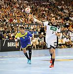 12.01.2019, Mercedes Benz Arena, Berlin, GER, Germany vs. Brazil, im Bild 7m, Uwe Gensheimer (GER #3), Felipe Borges (BRA #18)<br /> <br />      <br /> Foto &copy; nordphoto / Engler