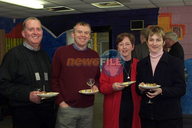 Brian McKenna, Dennis O'Connor, Mary Lynch and Dympna McKenna, teachers at St Pauls, enjoy the food on offer at the breakfast club in St Pauls..pic: Newsfile