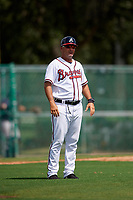 GCL Braves manager Nestor Perez (4) during the first game of a doubleheader against the GCL Yankees West on July 30, 2018 at Champion Stadium in Kissimmee, Florida.  GCL Yankees West defeated GCL Braves 7-5.  (Mike Janes/Four Seam Images)