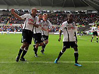 ATTENTION SPORTS PICTURE DESK<br /> Pictured: (L-R) Darren Pratley, Federico Bessone, Cedric van der Gun and Nathan Dyer of Swansea City in action <br /> Re: Coca Cola Championship, Swansea City Football Club v Cardiff City FC at the Liberty Stadium, Swansea, south Wales. Saturday 07 November 2009