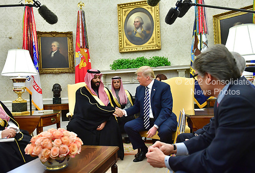 President Donald Trump (R) shakes hands with Crown Prince Mohammed bin Salman of the Kingdom of Saudi Arabia in the Oval Office at the White House on March 20, 2018 in Washington, D.C. <br /> Credit: Kevin Dietsch / Pool via CNP