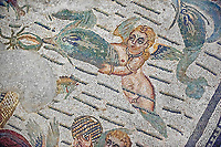Cupids & dolphin Roman mosaic, room 24, at the Villa Romana del Casale, Sicily ,  circa the first quarter of the 4th century AD. Sicily, Italy. A UNESCO World Heritage Site.