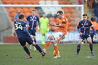 Walsall's Scott Laird is fouled by Blackpool's Harry Pritchard<br /> <br /> Photographer Kevin Barnes/CameraSport<br /> <br /> The EFL Sky Bet League One - Blackpool v Walsall - Saturday 9th February 2019 - Bloomfield Road - Blackpool<br /> <br /> World Copyright © 2019 CameraSport. All rights reserved. 43 Linden Ave. Countesthorpe. Leicester. England. LE8 5PG - Tel: +44 (0) 116 277 4147 - admin@camerasport.com - www.camerasport.com