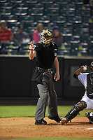 ***Temporary Unedited Reference File***Umpire Clint Vondrak during a game between the Jacksonville Suns and Jackson Generals on May 4, 2016 at The Ballpark at Jackson in Jackson, Tennessee.  Jackson defeated Jacksonville 11-6.  (Mike Janes/Four Seam Images)