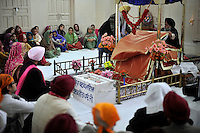 The wedding ceremony of British/Punjabi couple Lindsay and Navneet Singh at a gurdwara in Amritsar.