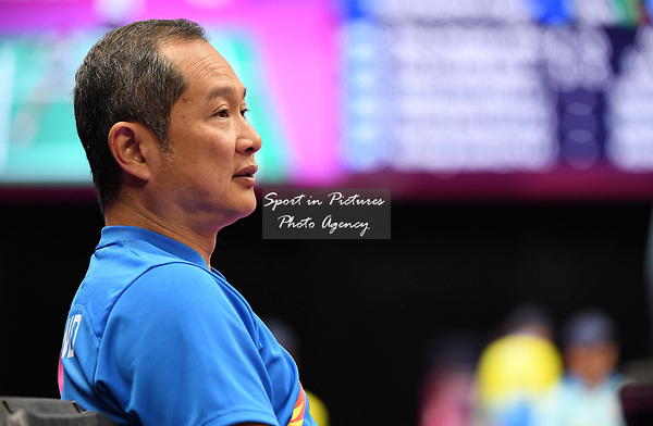 Coach Tat Meng Wong (SCO). Badminton. Mixed team event. XXI Commonwealth games. Carrara Sports hall 2. Gold Coast 2018. Queensland. Australia. 05/04/2018. ~ MANDATORY CREDIT Garry Bowden/SIPPA - NO UNAUTHORISED USE - +44 7837 394578