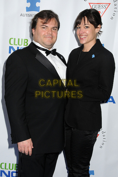 Jack Black, Tanya Haden.Light Up The Blues Concert –- An Evening of Music Benefiting Autism Speaks at Club Nokia held at Club Nokia, Los Angeles, California, USA, 13th April 2013..half length shirt black tuxedo tux bow tie white blazer couple married husband wife .CAP/ADM/BP.©Byron Purvis/AdMedia/Capital Pictures
