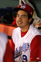 Auburn Doubledays third baseman Anthony Rendon #9 in the dugout during game two of the semi-final round of the NY-Penn League Playoff series against the Vermont Lake Monstes at Falcon Park on September 8, 2011 in Auburn, New York.  Auburn defeated Vermont 3-2.  (Mike Janes/Four Seam Images)