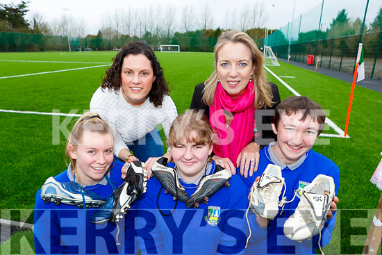 Castleisland Community College l-r: Leah Boyle, Ann Marie Healy, Grainne Spillane, Theresa Lonergan acting Principal and Micheal O'Shea who are appealing for old football boots which will be donated to kids in Africa