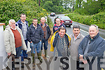 DANGER SPOT: Resident of the Castlemaine to Tralee road who are hopeful that a bad bend at Ballraemeen on the N70 can be widened to improve safety, front l-r: Johnny O'Connor, Cllr Michael O'Shea, Jimmy Boyle. Back l-r: John Griffin, Cllr Matt Griffin, James O'Connor, Brendan O'Connor and Martin Boyle.