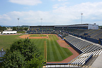 General view of a Biloxi Shuckers game against the Birmingham Barons on May 24, 2015 at Joe Davis Stadium in Huntsville, Alabama.  Birmingham defeated Biloxi 6-4 as the Shuckers are playing all games on the road, or neutral sites like their former home in Huntsville, until the teams new stadium is completed in early June.  (Mike Janes/Four Seam Images)