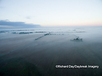 63893-03505 Fog at sunrise in rural Illinois - aerial - Marion Co. IL
