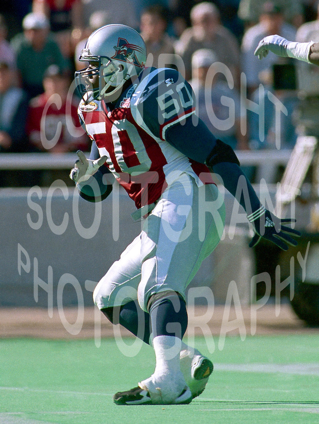 Rahassan Giddings Montreal Alouettes 1999. Photo F. Scott Grant