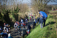 father &amp; son enjoying the race go by up the Oude Kwaremont<br /> <br /> Kuurne-Brussel-Kuurne 2016