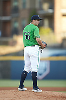 Gwinnett Stripers starting pitcher Tucker Davidson (56) looks to his catcher for the sign against the Scranton/Wilkes-Barre RailRiders at Coolray Field on August 16, 2019 in Lawrenceville, Georgia. The Stripers defeated the RailRiders 5-2. (Brian Westerholt/Four Seam Images)