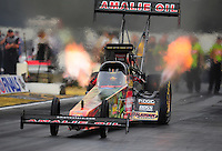 Nov. 10, 2011; Pomona, CA, USA; NHRA top fuel dragster driver Terry McMillen during qualifying at the Auto Club Finals at Auto Club Raceway at Pomona. Mandatory Credit: Mark J. Rebilas-.