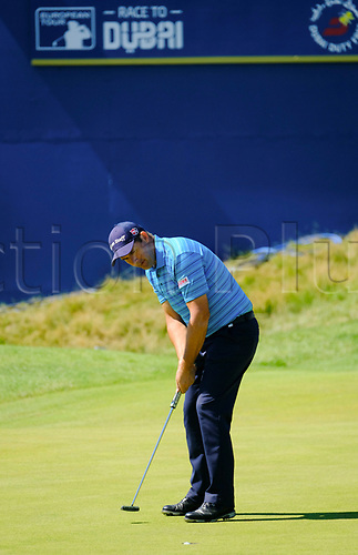 July 8th 2017, Portstewart Golf Club, Portstewart, Northern Ireland; Dubai Duty Free Irish Open Golf Championship, Day 3; Padraig Harrington (IRL) putts on the 18th during the third round of the Dubai Duty Free Irish Open