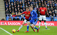 Leicester City's Jamie Vardy battles with Manchester United's Ander Herrera<br /> <br /> Photographer Hannah Fountain/CameraSport<br /> <br /> The Premier League - Leicester City v Manchester United - Sunday 3rd February 2019 - King Power Stadium - Leicester<br /> <br /> World Copyright © 2019 CameraSport. All rights reserved. 43 Linden Ave. Countesthorpe. Leicester. England. LE8 5PG - Tel: +44 (0) 116 277 4147 - admin@camerasport.com - www.camerasport.com