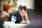 Ohrid - Macedonia - 25 October 2011 -- ETF IPA SOC Network Meeting -- Nada Jakir and Dukagjin Pupovci (R) in the plenary sessions at Metropol Hotel, Ohrid -- PHOTO: Ard JONGSMA / EUP-IMAGES