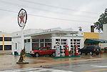 Historic Cowan Texaco service station with old gas pumps, Cowan, Tenn.