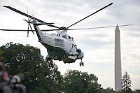 Marine One, with United States President Barack Obama aboard, departs the South Lawn of the White House in Washington, DC on Thursday, October 13, 2016 en route to Joint Base Andrews in Maryland for a trip to Pennsylvania and Ohio.<br /> Credit: Ron Sachs / CNP /MediaPunch