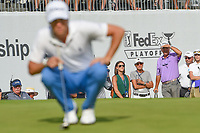 Justin Thomas' (USA) girlfriend and parents watch as he lines up his birdie putt on 18 during Rd4 of the 2019 BMW Championship, Medinah Golf Club, Chicago, Illinois, USA. 8/18/2019.<br /> Picture Ken Murray / Golffile.ie<br /> <br /> All photo usage must carry mandatory copyright credit (© Golffile | Ken Murray)
