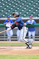 Mississippi Braves center fielder Michael Reed (28) swings at a pitch during a game against the Tennessee Smokies at Smokies Stadium on May 20, 2018 in Kodak, Tennessee. The Braves defeated the Smokies 7-4. (Tony Farlow/Four Seam Images)