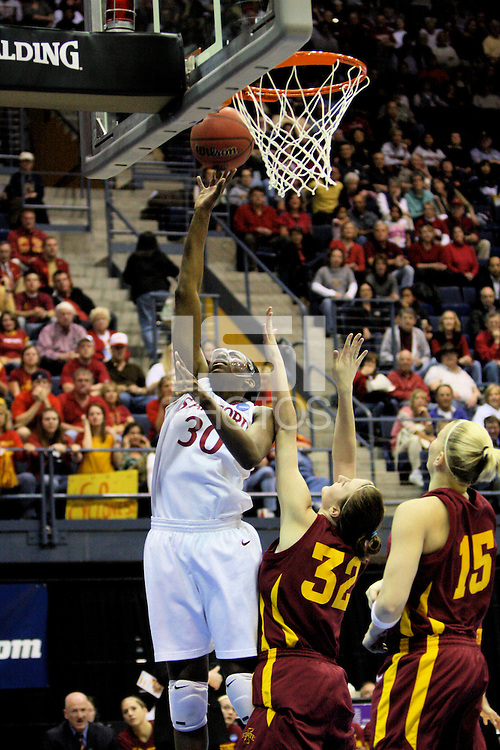 BERKELEY, CA - MARCH 30: Nneka Ogwumike post-up move during Stanford's 74-53 win against the Iowa State Cyclones on March 30, 2009 at Haas Pavilion in Berkeley, California.