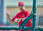 6 March 2016: St. Louis Cardinals Manager Mike Matheny tosses batting practice prior to a Spring Training pre-season game against the Washington Nationals at Roger Dean Stadium in Jupiter, Florida. The Nationals defeated the Cardinals 5-2 in Grapefruit League play. Mandatory Credit: Ed Wolfstein Photo *** RAW (NEF) Image File Available ***