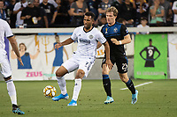 SAN JOSE, CA - SEPTEMBER 25: Andrew Wooten #7 of the Philadelphia Union and Florian Jungwirth #23 of the San Jose Earthquakes during a game between Philadelphia Union and San Jose Earthquakes at Avaya Stadium on September 25, 2019 in San Jose, California.
