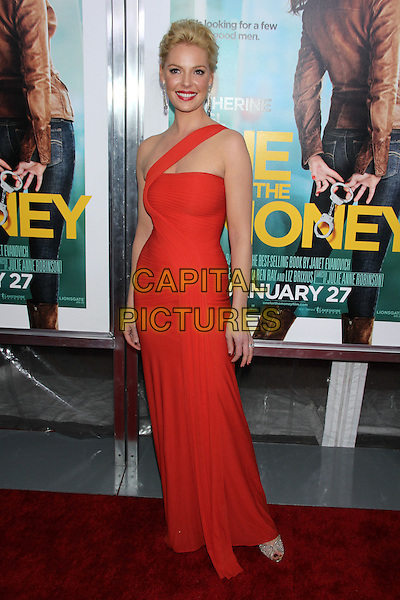 "Katherine Heigl (wearing a Herve Leroux gown).The New York Premiere of ""One For The Money"" held at the AMC Loews Lincoln Square Cinemas, New York, NY, USA..January 24th, 2012.full length red one shoulder dress clutch bag gold silver shoes.CAP/LNC/TOM.©LNC/Capital Pictures."