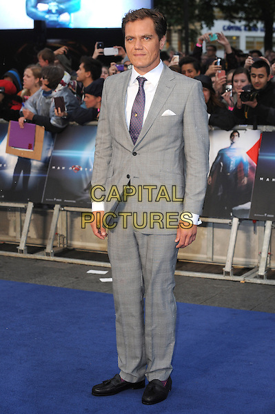 Michael Shannon<br /> 'Man Of Steel' UK film premiere, Empire cinema, Leicester Square, London, England.<br /> 12th June 2013<br /> full length grey gray suit white shirt purple tie<br /> CAP/BEL<br /> &copy;Tom Belcher/Capital Pictures